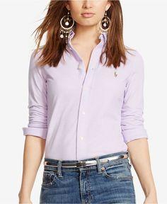 Polo Ralph Lauren Long-Sleeve Knit Shirt - Tops - Women - Macy's