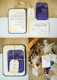 Navy and Cream, Starry night wedding invitations