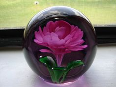Vintage Paperweight Pink Rose Glass Ball by BackStageVintageShop