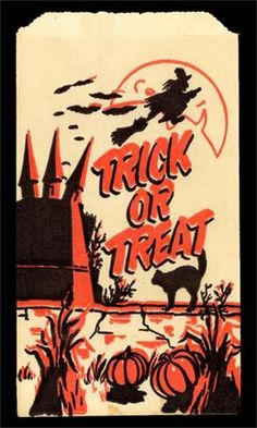 Trick or treat bags. Am I so old that I remember getting the a? Halloween Artwork, Halloween Ii, Retro Halloween, Halloween Items, Halloween Trick Or Treat, Halloween Pictures, Happy Halloween, Halloween Decorations, Halloween Clipart