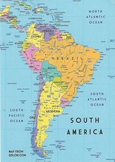 Political Map of South America. Mexico, Bahamas, Guatemala, Jamaica ...