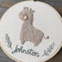 Little giraffe complete🎈#fiberart #modernembroidery #handembroidery #embroidery #needlework #hoopembroidery #hoopart #modernmaker #abmcrafty #dslooking #craftsposure #shopboston #babygift #nurserydecor #dmcthreads #somervillema #psimadethis #customembroidery #cutegiraffe