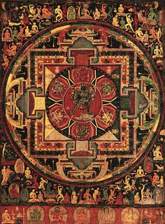 """The traditional way to create a mandala is to start at the center and expand outward on the design. The most basic form of a mandala has four """"T-shaped gates"""" and includes the colors yellow, red, green, and blue. Depending on how open you are with the def Buddhist Texts, Buddhist Art, Tibetan Art, Tibetan Buddhism, Tibetan Mandala, Vajrayana Buddhism, Thangka Painting, Sacred Art, Tibet"""