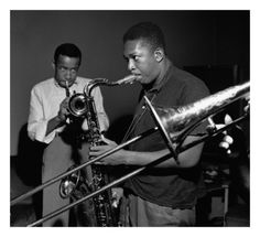 Lee Morgan and John Coltrane 1957 by Francis Wolff