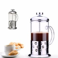 High temperature glass teapot,stainless steel filter coffee pot, Simple home coffee glass pot