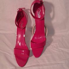 Pink high heels Hot pink Candie's heels. Looks like they've hardly been worn. Candie's Shoes Heels