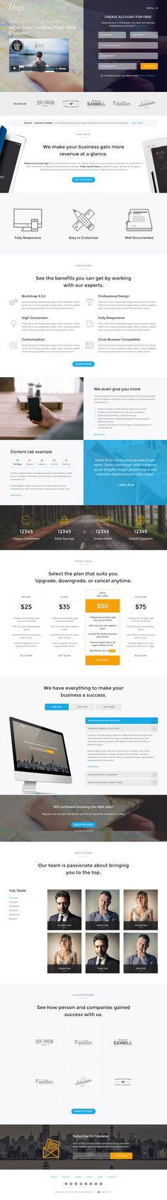 'Urip' is a smart landing page HTML template focused on lead generation. The One Page template, built on Bootstrap, comes with 4 layout options: Portfolio, Landing Page with form, Landing Page with single field signup and App. The layouts are familiar similar styled but the App option is custom designed nicely all around devices and screenshots throughout the page. I really like this video + form header option pictured in our screenshot.