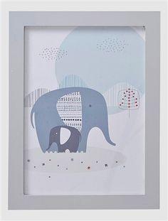 Elefanten-Wandbild für Kinderzimmer WEIß/BLAU