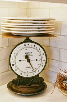 HOME DECOR – IDEAS – design chic: white kitchen tour shows decorative accents for the kitchen counter.