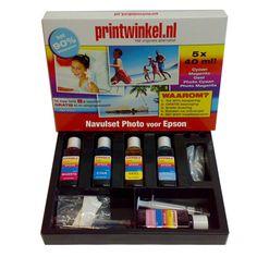 De EPSON Navulset foto kleuren van zijn extra voordelig. Met deze sets kunt u met gemak uw cartridges 8 tot 10x navullen!