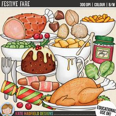 """Traditional Christmas Food clip art and line art bundle!""""Festive Fare"""" includes 23 traditional British Christmas dinner and food clipart illustrations created from my original hand painted artwork! Each design comes supplied as a full colour png, as well as black and white outline versions (in png format)."""