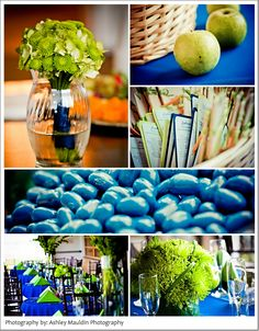 Apple Green and Navy....our wedding colors although I always describe it as pea green and navy :)