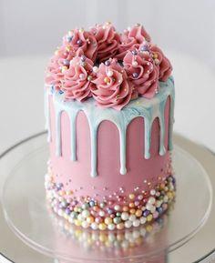 Beautiful Birthday Cakes, My Birthday Cake, Birthday Cake Decorating, Cake Decorating Tips, Crazy Cakes, Fancy Cakes, Mini Cakes, Cupcake Cakes, Food Cakes