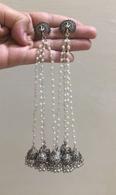 Ready to Ship Oxidised Silver-Toned Kashmiri Jhumka Indian Indian Jewelry Earrings, Jewelry Design Earrings, Silver Jewellery Indian, Silver Jewelry, Jewelry Accessories, Bridal Jewelry, Pakistani Jewelry, Fancy Jewellery, Indian Accessories