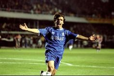 20 October 1999: GIANFRANCO ZOLA celebrates scoring CHELSEA's third goal in the UEFA Champions League Group H game against Galatasaray at the Ali Sami Yen Stadium in Istanbul, Turkey. CHELSEA won 5-0...