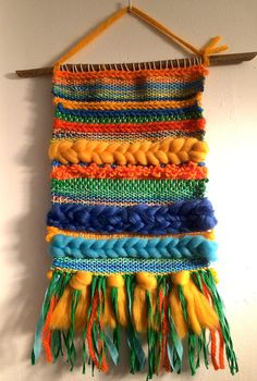 very colorful weave Weaving For Kids, Weaving Art, Tapestry Weaving, Loom Weaving, Hand Weaving, Textiles, Yarn Wall Art, Weaving Wall Hanging, Weaving Projects