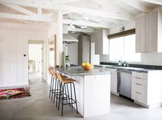Open kitchen in a Malibu beach house remodel by Lauren Soloff Open Galley Kitchen, Small Galley Kitchens, Galley Kitchen Design, Kitchen In, Galley Kitchen Remodel, Home Decor Kitchen, Kitchen Renovations, Open Kitchens, House Renovations