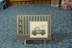 """stampin up """"Loads of Love"""" stamp set. I love the use of the brads for the truck hub caps."""