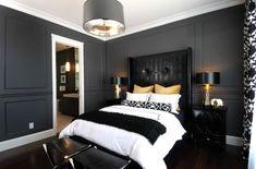 Dark walls, white bedding....pop of gold