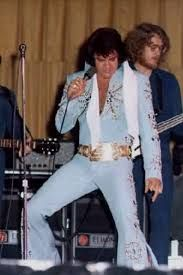 The Tiffany Suit worn several times during 1972. One of several Light Blue suits Elvis wore during this year. Although this suit came with its own belt.