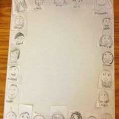 """""""She had her kids draw themselves on little circles on the first day. She copied them and cut them to paste around a new page."""" Cute idea for a class pledge or building classroom community 1st Day Of School, Beginning Of The School Year, Too Cool For School, School Fun, School Days, Back To School, Middle School, School Stuff, Classroom Organisation"""