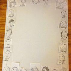 Iedere leerling tekent zijn eigen hoofd, verkleinen en een kader van maken. De leerlingen schrijven een tekst over het afgelopen schooljaar en een bijpassende tekening. Dit van elke leerling bundelen voor een afscheidsboek voor de leerling of stagiaire.