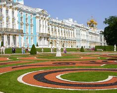 Tsarskoe Selo ...., the design shown on the lawns are completely made of years, and years, of  Royal Chinas that had been broken and collected.