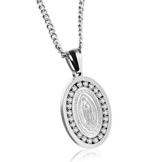 """Fate Love Stainless Steel Cubic Zirconia Guadalupe Miraculous Medal Virgin Mary Necklace, Silvery/Golden. Necklace featuring polished stainless steel oval medal depicting Saint Mary with the cubic zirconia surrounding. Inscription """"Nuestra Señora de Guadalupe"""". Easy to read lettering and great detail. Color: Silver/ Gold. Packing: Come with a Fate Love Brand Box, which would be a perfect gift choice for someone special, such as lover, boyfriend, girlfriend, sister,brother, friends ."""