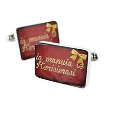 Cufflinks Merry Christmas in Samoan from Samoa, American Samoa Porcelain Ceramic NEONBLOND -- Details can be found at