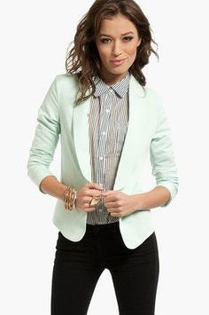 HATE that shirt but love this mint blazer