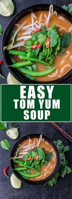 This Tom Yum soup is easy to make and only takes 15 minutes! Make a bowl today, you'll love it!