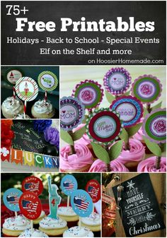 FREE Printables for Holidays, Back to School, Elf on the Shelf and much more! Including Cupcake Toppers, Gift Tags, Banners and more! Perfect for all your parties! Pin to your Party Board! School Cupcakes, Printable Labels, Party Printables, Free Printables, Cupcake Picks, Cupcake Toppers, Diy Arts And Crafts, Creative Crafts, Crafts For Kids