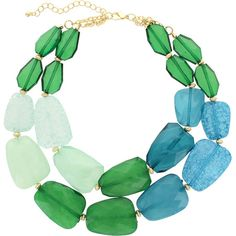Stylist's Tip: Cascading beads in cool hues make this eye-catching necklace a beachy addition to any outfit. Try pairing it with a printed sarong for a casua...