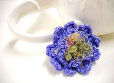 Crocheted Flower Brooch Wedding Boutonniere Fiber by StitchKnit, $7.00