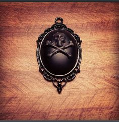 Black Matte Onyx Brass Skull Necklace by KRUELINTENTIONS on Etsy