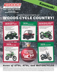 Save the Date -  Thursday, December 12th Woods Cycle Country's 14th Annual Customer Christmas Party  Door prizes, live music, food, and this year's Grand Prize, a 2020 Kawasaki Brute Force 300 ATV!  We are also accepting donations for the San Antonio Toys for Tots program. Please drop off any new and unwrapped toys between now and the party. Your generosity is greatly appreciated!  #WoodsCycleCountry #Kawasaki