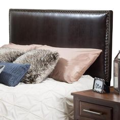 Noble House Hilton Brown Leather King/Cal King Headboard 5238 - The Home Depot