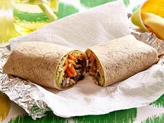 Brown Rice and Bean Burrito recipe from Food Network Kitchen via Food Network