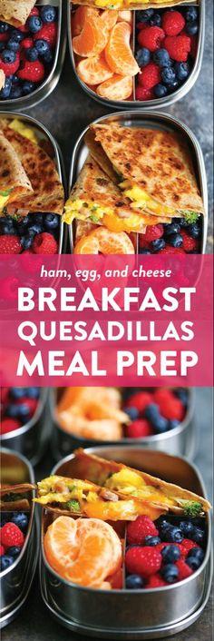 Ham, Egg and Cheese Breakfast Quesadillas Easy Healthy Meal Prep, Healthy Recipes, Healthy Breakfast Recipes, Healthy Snacks, Easy Meals, Cooking Recipes, Cheese Recipes, Easy Recipes, Damn Delicious Recipes