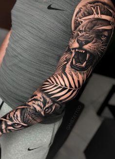 5 Most Popular Tiger Tattoos - Tattoo Designs Tiger Eyes Tattoo, Tiger Tattoo Sleeve, Lion Tattoo Sleeves, Lion Head Tattoos, Best Sleeve Tattoos, Tattoo Sleeve Designs, Arm Tattoos, Life Tattoos, Tribal Tattoos
