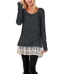 Look at this #zulilyfind! Charcoal Lace-Hem Tunic #zulilyfinds