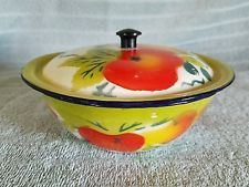 "Fruit Pattern Enamelware Lidded Bowl 6 1/2"" Diameter Vintage!"