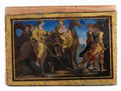 DIE FLUCHT NACH ÄGYPTEN 9,5 x 14 cm. Italien, Anfang 17. Jahrhundert. Verso auf der Holzabdeckplatte alter gedruckter Sammlungsaufkleber mit Aufschrift...