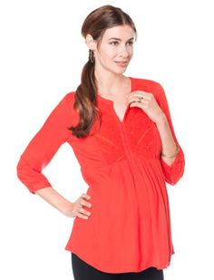 A Pea in the Pod 3/4 Sleeve Babydoll Maternity Blouse in fiesta orange from Macy's