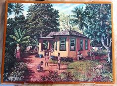 Vintage-1979-David-Moore-Trinidad-Tobago-034-Country-House-034-Print-Resin-Mounted