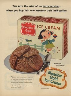 1953 Mary Blair little girl & bird art Meadow Gold chocolate ice cream print ad Vintage Ephemera, Vintage Ads, Vintage Posters, Vintage Prints, Vintage Food, Vintage Stuff, Old Advertisements, Retro Advertising, Retro Ads