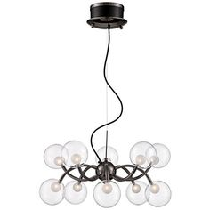 Chic and eye-catching, this pendant chandelier features energizing glass elements and a sleek black chrome finish. 24 wide x high x canopy is 7 wide and high x hang weight is 6 lbs. Style # at Lamps Plus. Glass Pendant Light, Pendant Chandelier, Glass Pendants, Double Glass, Contemporary Pendant Lights, Chrome Finish, Modern Decor, Ceiling Lights, Design