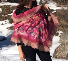 Nuno Felted shawl/scarve, vibrant pink