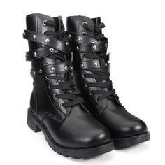 Big Size Black Martin Rivet Mid Calf Boots