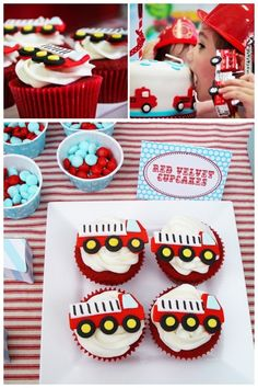 Fire Truck Cupcakes for Boys Birthday Party Cupcakes For Boys, Fun Cupcakes, Birthday Cupcakes, Cupcake Cakes, Cup Cakes, Fireman Cupcakes, Cupcake Toppers, Fireman Party, Firefighter Birthday